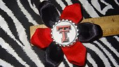 Sporty Bottlecap Flower NCAA Texas Tech Red Raiders Logo Hair Bow ~ Free Shipping Price: $4.00
