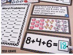 Adding 3 Numbers word problems center - LOVE!! Great blog post with a lot of ideas for adding 3 numbers to 20 for first grade