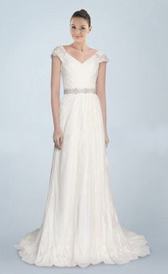 Charming Beaded Ruched V-neck A-line Sweep Wedding Dress