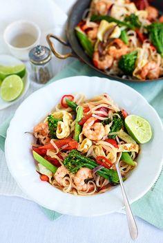 Thai-style prawn and tenderstem noodles