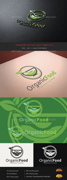 Organic Food Food Logo Design Template by bomrastaman. Food Logo Design, Logo Food, Benefits Of Organic Food, Organic Logo, Mood Images, Green Logo, Information Graphics, Free Fonts Download, Kids Logo
