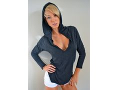 Bamboo Deep V Hoodie by Blu Democracy, sold at Roozt.com