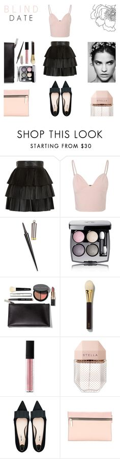 """Blind Date - February 16"" by rachaelselina ❤ liked on Polyvore featuring Balmain, Glamorous, Christian Louboutin, Chanel, Bobbi Brown Cosmetics, Tom Ford, Le Métier de Beauté, STELLA McCARTNEY, Miu Miu and Victoria Beckham"