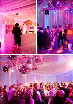 Love the ceiling drapes and the disco balls hanging from it!