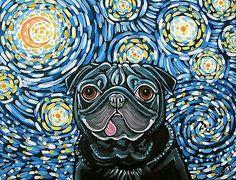 Starry Night Pug Dog Art by Melinda Dalke 35% donation to Mid-Atlantic Pug Rescue