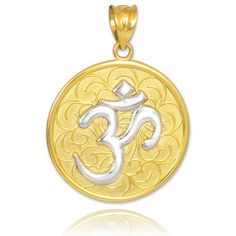 10k Two Tone Gold Om Aum Medallion Pendant ** Check out this great product.