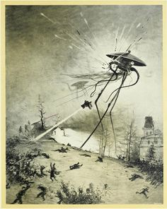 Illustration for the 1906 edition of the H.G. Wells novel The War of the Worlds, by brazilian illustrator Henrique Alvim Corrêa.