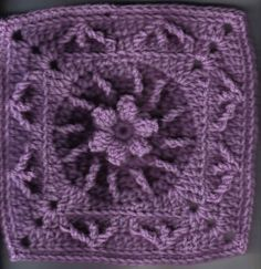 "Flower and Trebles Square 8""inches - Free Original Patterns - Crochetville"