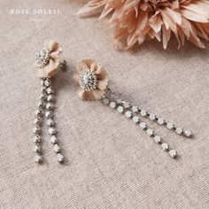 Rose Soleil Jewelry Blossom Wind Collection   スワロフスキークリスタルとリボンピアス Spring Collection, Rose, Bobby Pins, Jewelry Necklaces, Hair Accessories, Beauty, Pink, Hairpin, Hair Accessory