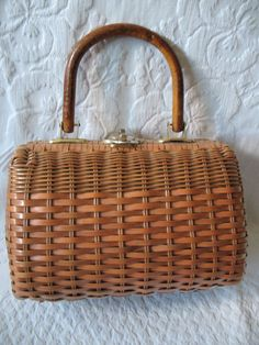 Vintage Classic Straw Rattan Purse with by WhenRosesBloomShop, $24.00