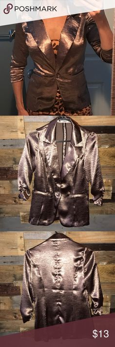 Silky blazer! This blazer is kind of a gold/rose gold color with ruching on the sleeves. Charlotte Russe Jackets & Coats Blazers
