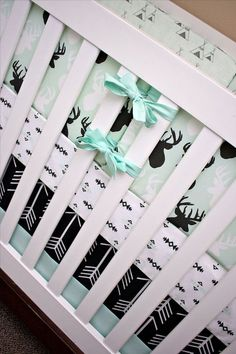 Mint Black and White Crib Bedding Baby Bedding Deer by modifiedtot