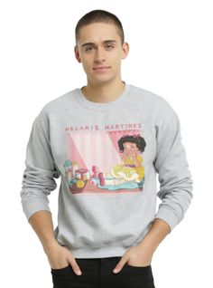 <p>Heather grey sweatshirt from Melanie Martinez with a colorful <i>Cry Baby</i> inspired storybook illustration style design by Chloe Tersigni on front.</p>  <ul> 	<li>100% cotton</li> 	<li>Wash cold; dry low</li> 	<li>Imported</li> 	<li>Listed in men's sizes</li> </ul>