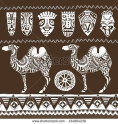 Illustration vector.Ethnic ornament set. Seamless vector tribal texture.Animals set
