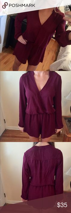 Lush Long Sleeve Romper Cute chiffon deep plum long sleeve romper by Lush from Nordstrom. Only worn once, like new without the tags. No rips or stains. Size small. Willing to negotiate price!  no trades Lush Pants Jumpsuits & Rompers