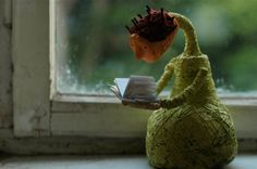 very interesting book  art doll by behappynow on Etsy