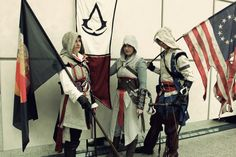 Assassin's Creed Group Cosplay at Role Play Convention Myself as Ezio, DarkyMoony as Altair and Applecard as Connor Kenway. Assassins Creed Cosplay, Assassins Creed Series, Girl Costumes, Cosplay Costumes, Assessin Creed, Prototype 2, Group Cosplay, Cosplay Makeup, Japan