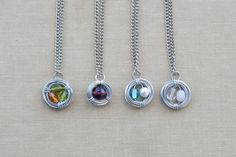 birthstone bird nest necklaces. Perfect for Mother's day!