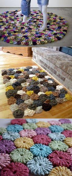 Los tapices pequeños de flores por el gancho. Las ideas, las clases maestras.