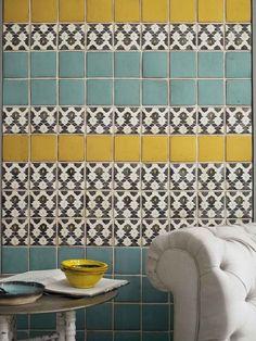 Style Forecast: Tile Trends for 2014 and Beyond/ Lovely Tabarka Deco Design, Tile Design, Design Color, Design Trends, Design Ideas, Design Design, Home Interior, Interior Design, Yellow Tile