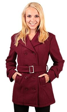 Woodland Supply Co Womens Double Breasted Belted Wool Pea Coat Large Wine -- Find out more about the great product at the image link.