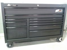 My Snap On Classic 78 flat black tool box Tool Box Cabinet, Tool Box Storage, Tool Rack, Welding Rigs, Garage Shop, Gas Station, Garages, Hand Tools, Benches