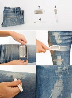 Maiko Nagao: DIY: Distressed and ripped jeans tutorial Like this.