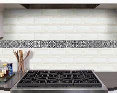 "Vinyl decal self-adhesive Portuguese sticker tile stripes Decoration FADO set kitchen bathroom (Pack 15) (2""x8""/5x20cm)"