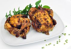 Curry, thyme and paprika poussins