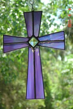 Lavender Stained Glass Cross with glass Bevel EASTER. $24.99, via Etsy.