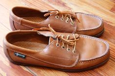 Vintage 80s Preppy Leather Eastland Topsiders by MaidenhairVintage, $36.00