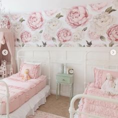 Bridgette Wallpaper gives a beautiful floral look to your walls. The removable wallpaper design is breathtaking and perfect for nurseries, bedrooms, renters, and home! Peel and stick our removable wallpaper to any smooth painted wall. Wallpaper Size, Rose Wallpaper, Kids Wallpaper, Self Adhesive Wallpaper, Wallpaper Roll, Wall Wallpaper, Wallpaper For Girls Room, Large Floral Wallpaper, Gratis Sticker