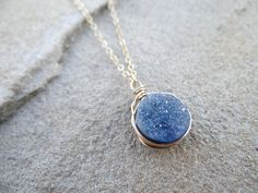 Periwinkle Purple/Blue Wire Wrapped Round by TheLoveleighLocket