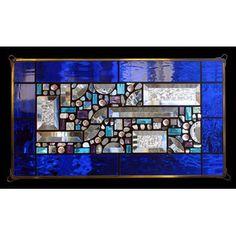Edel Byrne Cobalt Blue-Water Glass Border Geometric Stained Glass Panel, Artistic Artisan Designer Window Panels