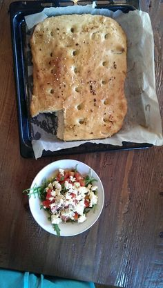 Fresh focaccia and tomato salad