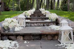 Romantic white wedding by the lake ~ Jennifer and Richard | San Diego Wedding Blog, how pretty would this be on the church steps!!!!