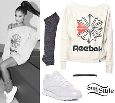 Ariana Grande's Clothes & Outfits | Steal Her Style Ariana Grande Reebok, Ariana Grande Outfits, Cute Summer Outfits, Cute Outfits, Kpop Outfits, Celebrity Outfits, Casual Outfits, Look Fashion, Fashion Outfits