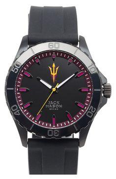 Jack Mason Brand 'Arizona State University Sun Devils' Blackout Silicone Strap Watch, 44mm