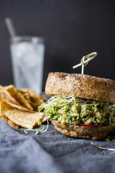 Avocado Pesto Chickpea Salad Sandwiches   edibleperspective.com