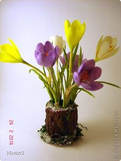 Ах, как уже хочется весны! В предвкушении этого события возникла эта небольшая миниатюра. Крокусы - простенькие первоцветы, делать их несложно... Но маленькой вазочки для них у меня не было... А был слепленный давненько пенек... Думаю, что на пеньках живые цветы крокуса в природе не увидишь, а в интерьерной композиции - можно это сделать...  фото 1