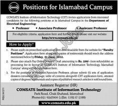 Faculty Position Opened in Comsats for Islamabad Campus