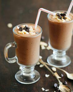Healthy Chocolate Milkshake made with coconut milk + dates (dairy + gluten-free, refined sugar free)