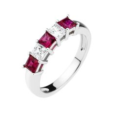 This elegant eternity anniversary ring is sterling silver with platinum plating. The ring is set with two clear and three ruby red princess cut cubic zirconia stones.