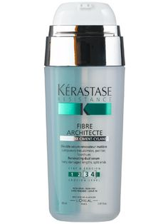 Battling split, dry ends? After using a Kerastase Thermique product on damp hair and blowdrying completely, apply a dime-sized amount of heat-activated Fibre Architecte to your dry hair, mid-length to ends. Flat Iron or Blowdry to heal-and-seal in the amazing smoothness this product offers!