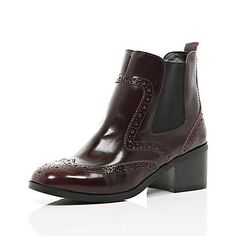 Dark red patent brogue Chelsea boots - ankle boots - shoes / boots - women