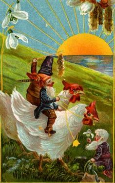 Easter Dwarf Gnome Riding on Rooster Snowdrop Sun 1908 Easter Greeting Postcard Holiday Postcards, Old Postcards, Sunrise Landscape, Elves And Fairies, Live Art, Chicken Art, Woodland Creatures, Vintage Easter, Vintage Cards