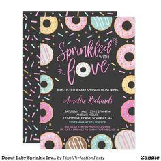 Sep 2019 - Donut Baby Sprinkle Invitation Sprinkled With Love: Baby Shower Invitation 2nd Baby Showers, Baby Shower Parties, Baby Shower Themes, Baby Boy Shower, Shower Ideas, Baby Party, Tea Party, Baby Girl Sprinkle, Sprinkle Party