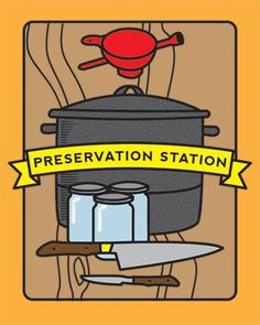 Draft for a brochure cover - Preservation Station, a mobile canning kitchen in Bellaire, MI