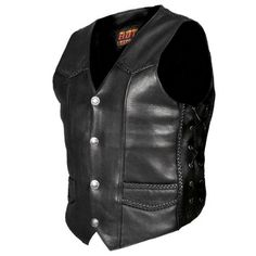 Save $ 10 order now Hot Leathers Heavy Weight Leather Vest with Braided Detail (