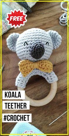 crochet Koala Teether free pattern - easy crochet toys pattern for beginners Toys Patterns free easy crochet Koala Teether free pattern Crochet Simple, Crochet Diy, Crochet Amigurumi Free Patterns, Crochet Patterns For Beginners, Crochet Baby Mobiles, Crochet Baby Toys, Crochet Dolls, Baby Knitting, Confection Au Crochet